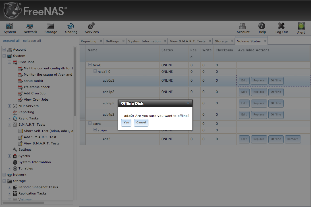 Replacing a harddrive in a ZFS pool on FreeNAS